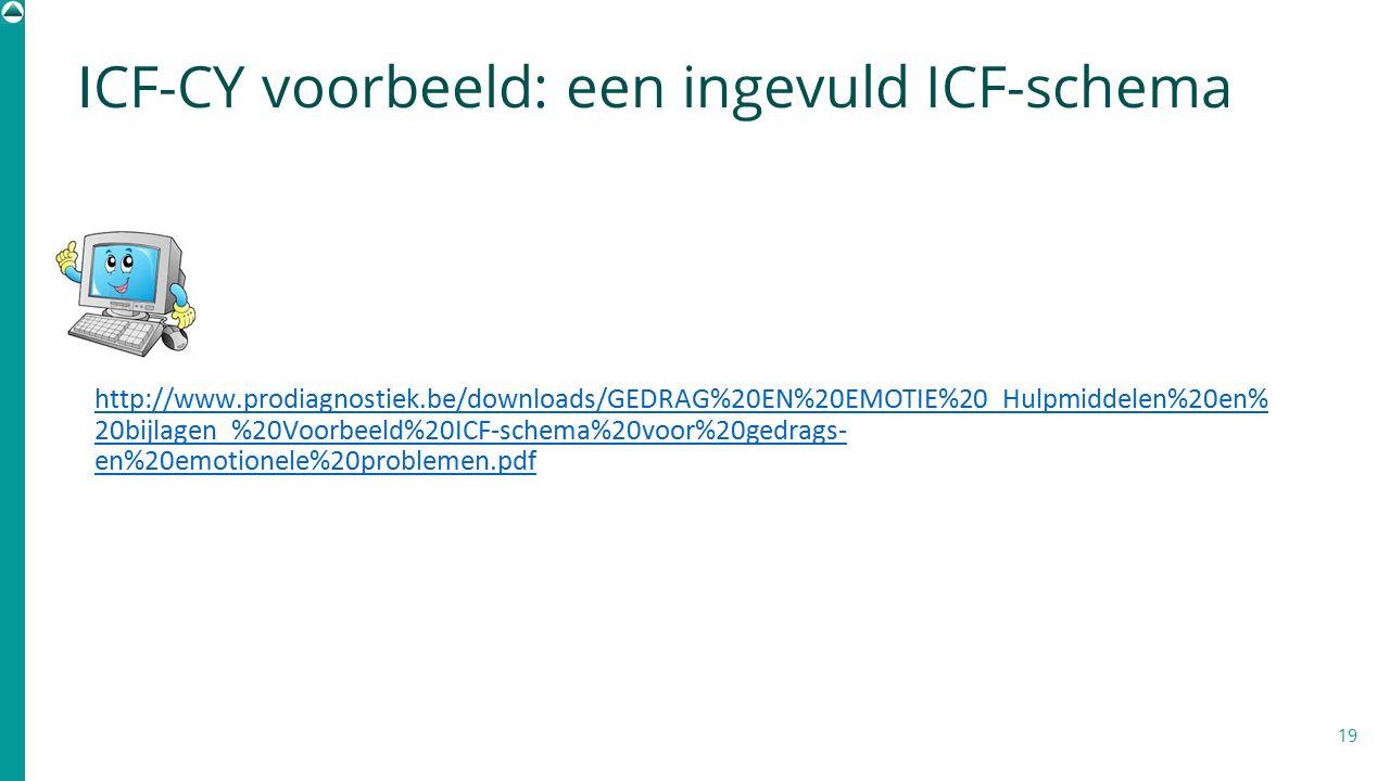 ICF-CY voorbeeld: een ingevuld ICF-schema