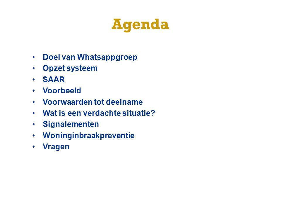 Agenda Doel van Whatsappgroep Opzet systeem SAAR Voorbeeld