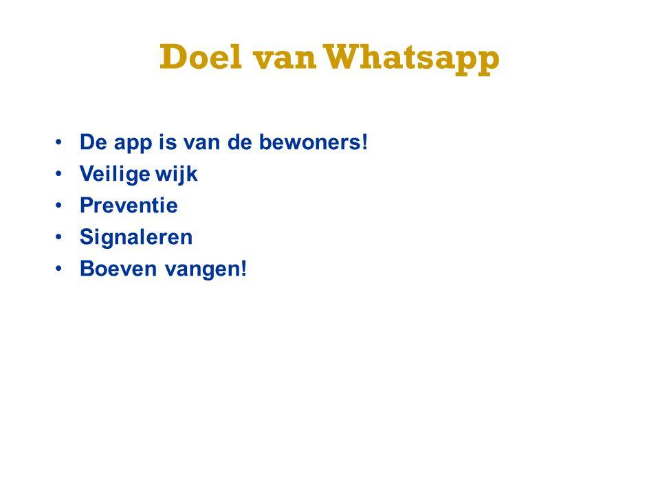 Doel van Whatsapp De app is van de bewoners! Veilige wijk Preventie