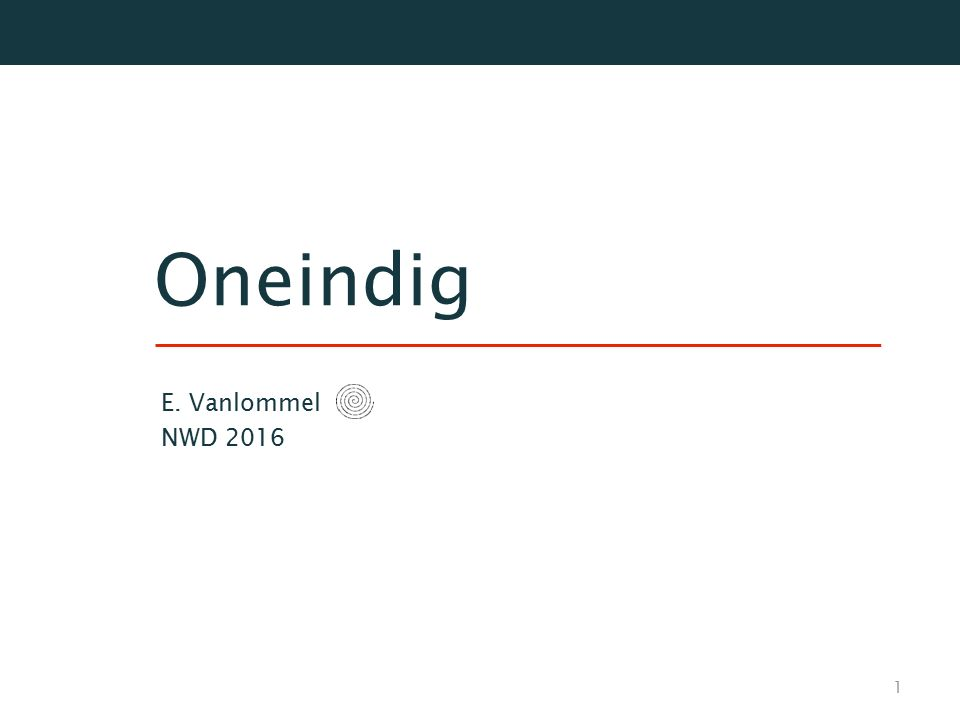 Oneindig E. Vanlommel NWD 2016
