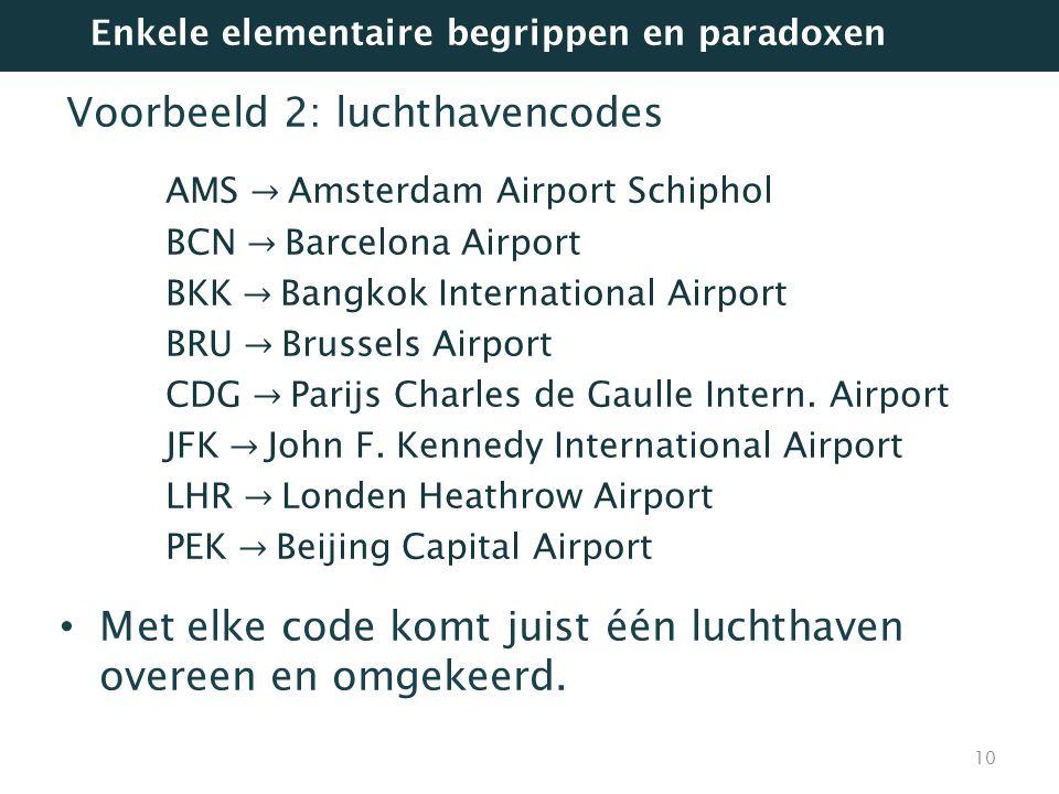 Voorbeeld 2: luchthavencodes