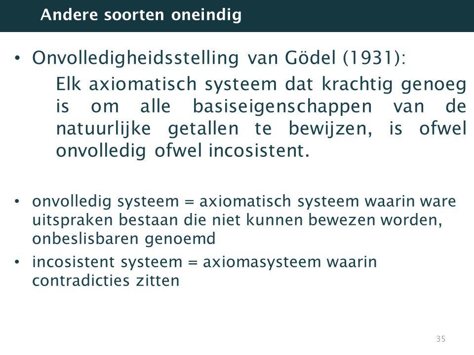 Onvolledigheidsstelling van Gödel (1931):
