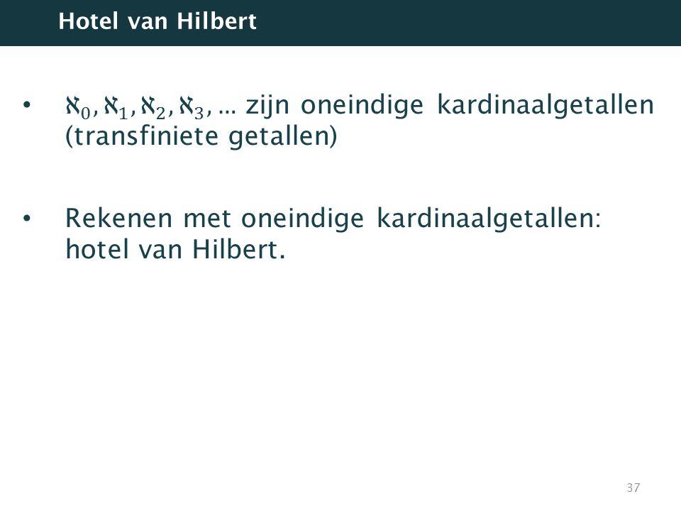 Rekenen met oneindige kardinaalgetallen: hotel van Hilbert.