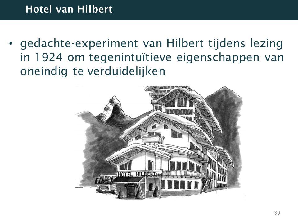 Hotel van Hilbert gedachte-experiment van Hilbert tijdens lezing in 1924 om tegenintuïtieve eigenschappen van oneindig te verduidelijken.