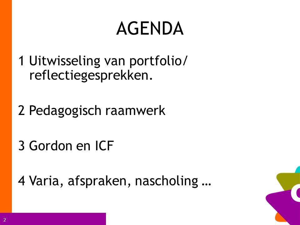 AGENDA 1 Uitwisseling van portfolio/ reflectiegesprekken.