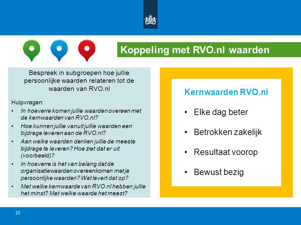 Koppeling met RVO.nl waarden