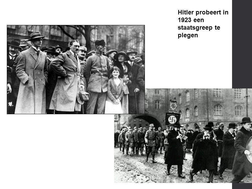 Hitler probeert in 1923 een staatsgreep te plegen