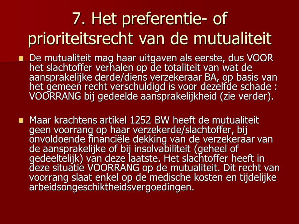 7. Het preferentie- of prioriteitsrecht van de mutualiteit