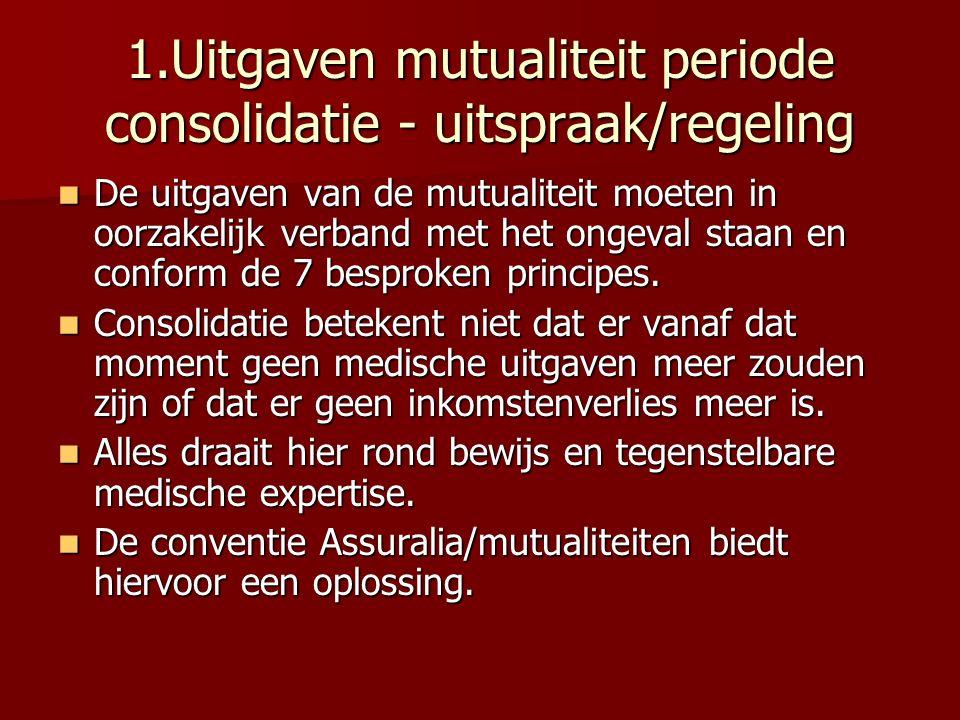 1.Uitgaven mutualiteit periode consolidatie - uitspraak/regeling