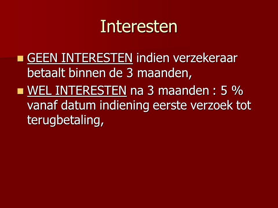 Interesten GEEN INTERESTEN indien verzekeraar betaalt binnen de 3 maanden,