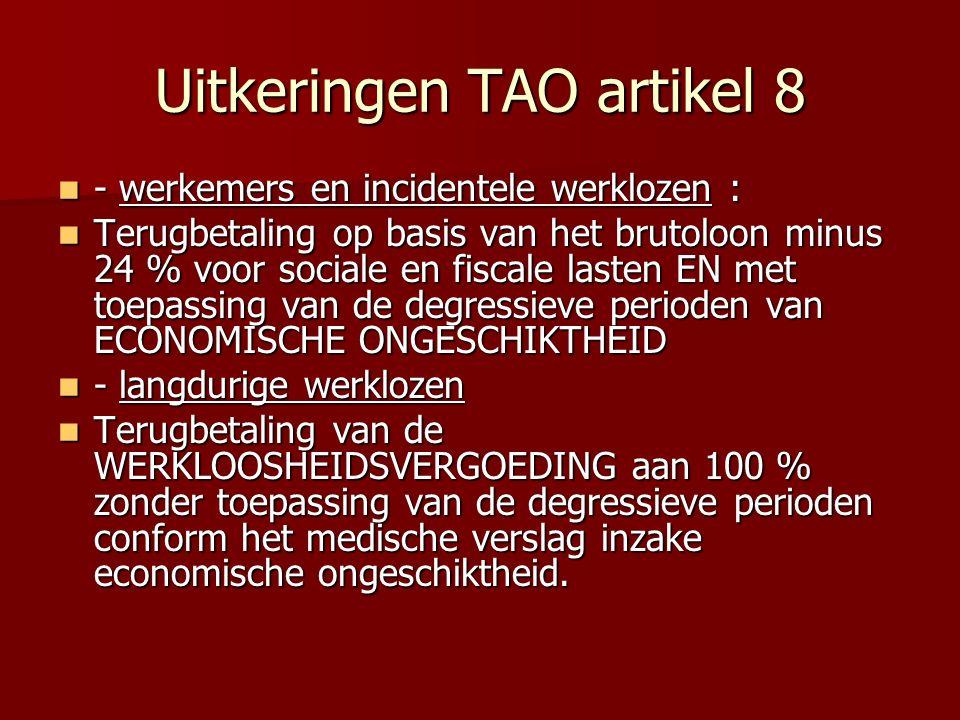 Uitkeringen TAO artikel 8