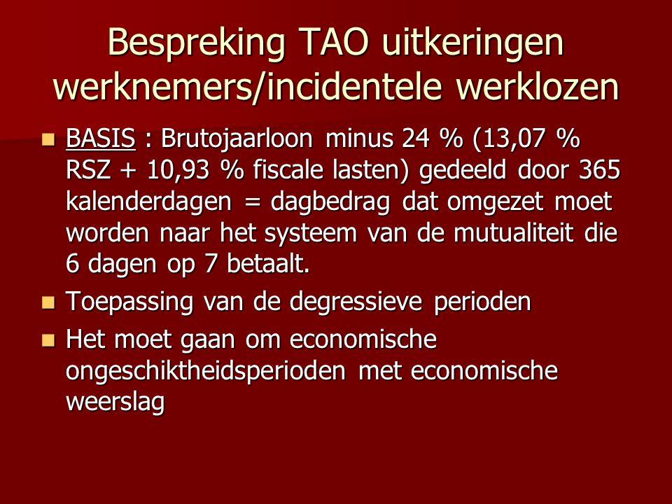 Bespreking TAO uitkeringen werknemers/incidentele werklozen