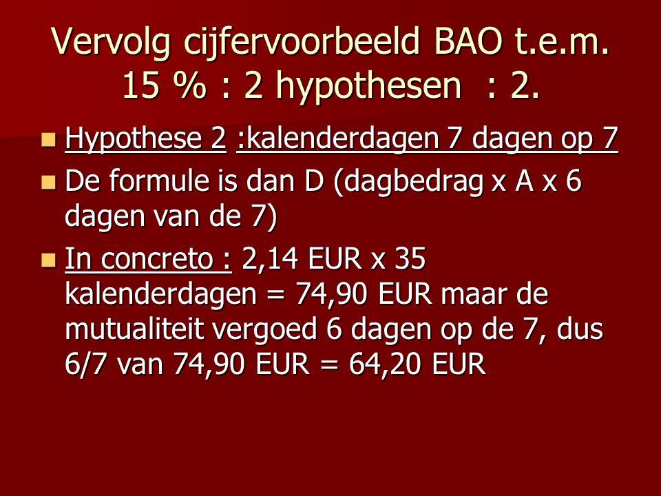 Vervolg cijfervoorbeeld BAO t.e.m. 15 % : 2 hypothesen : 2.