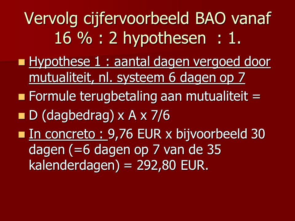 Vervolg cijfervoorbeeld BAO vanaf 16 % : 2 hypothesen : 1.