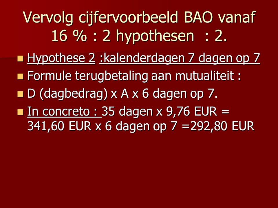 Vervolg cijfervoorbeeld BAO vanaf 16 % : 2 hypothesen : 2.