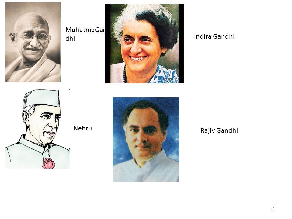 MahatmaGandhi Indira Gandhi Nehru Rajiv Gandhi