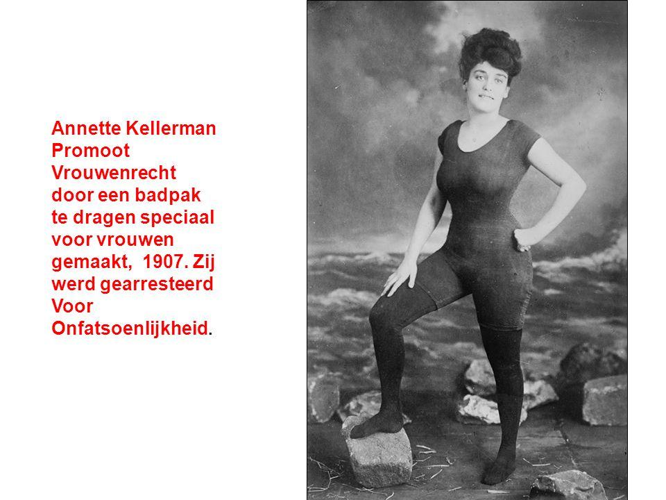Annette Kellerman Promoot Vrouwenrecht door een badpak te dragen speciaal voor vrouwen gemaakt, 1907.