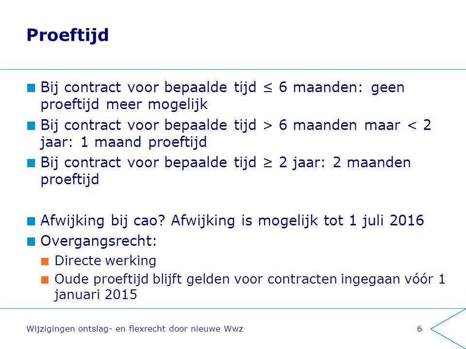 Proeftijd Bij contract voor bepaalde tijd ≤ 6 maanden: geen proeftijd meer mogelijk.