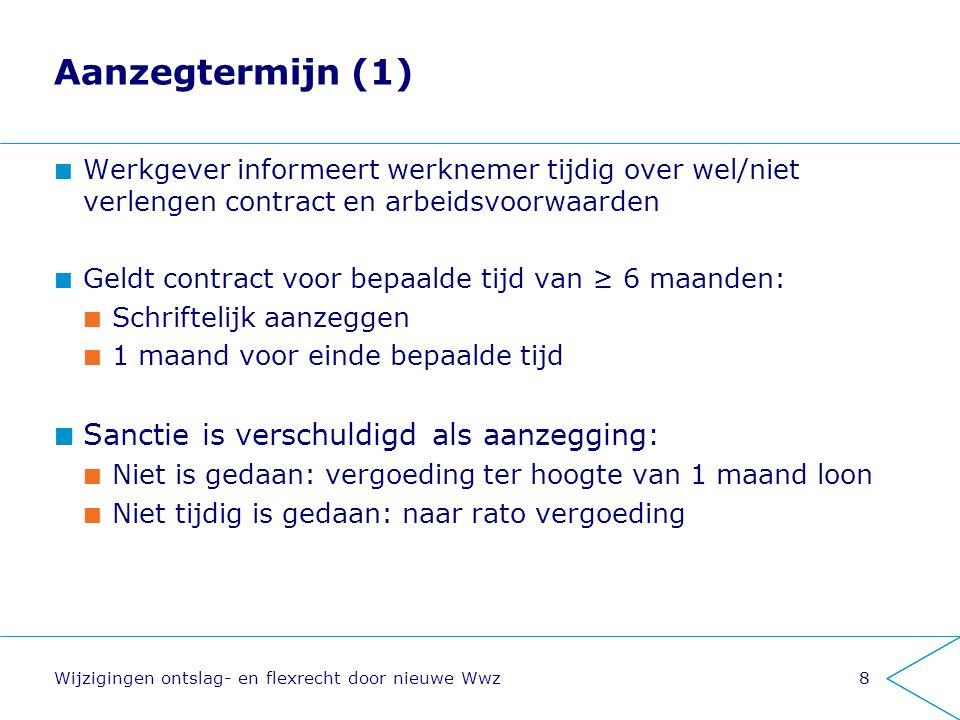 Aanzegtermijn (1) Sanctie is verschuldigd als aanzegging: