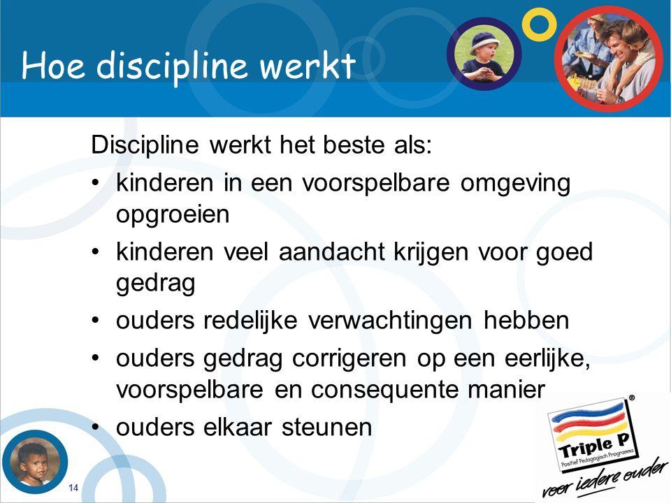 Hoe discipline werkt Discipline werkt het beste als: