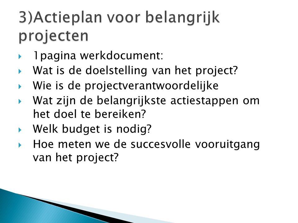 3)Actieplan voor belangrijk projecten