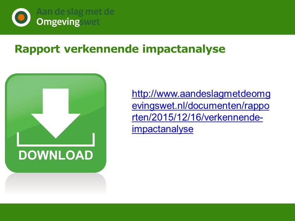 Rapport verkennende impactanalyse