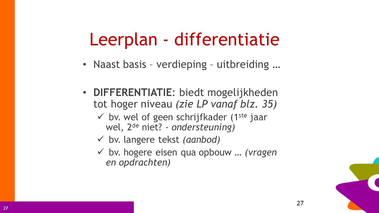 Leerplan - differentiatie