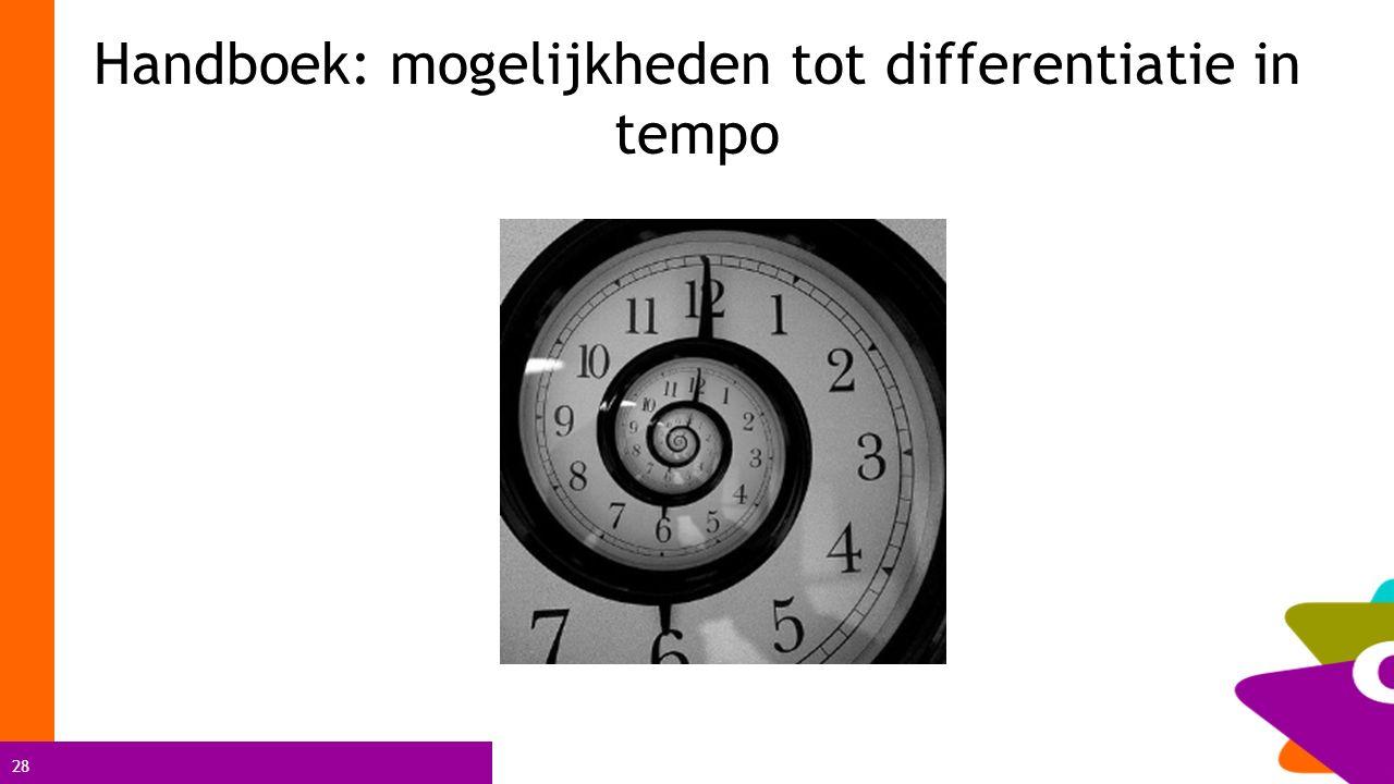 Handboek: mogelijkheden tot differentiatie in tempo