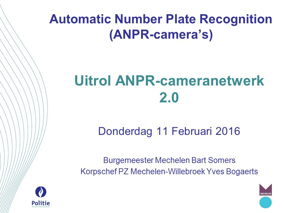 Automatic Number Plate Recognition (ANPR-camera's)