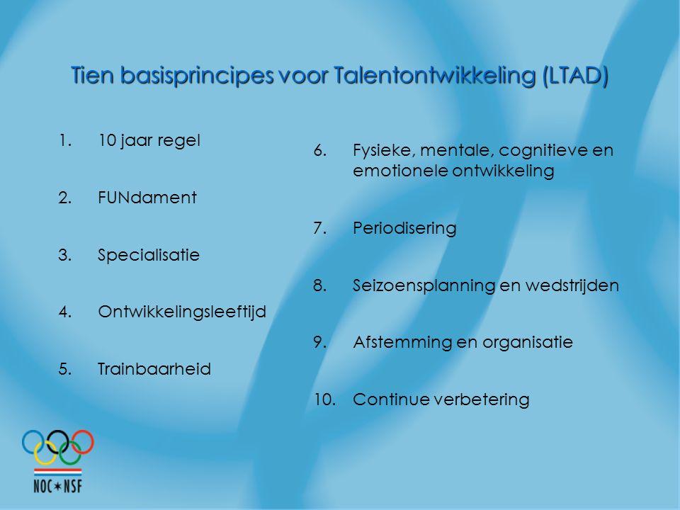 Tien basisprincipes voor Talentontwikkeling (LTAD)