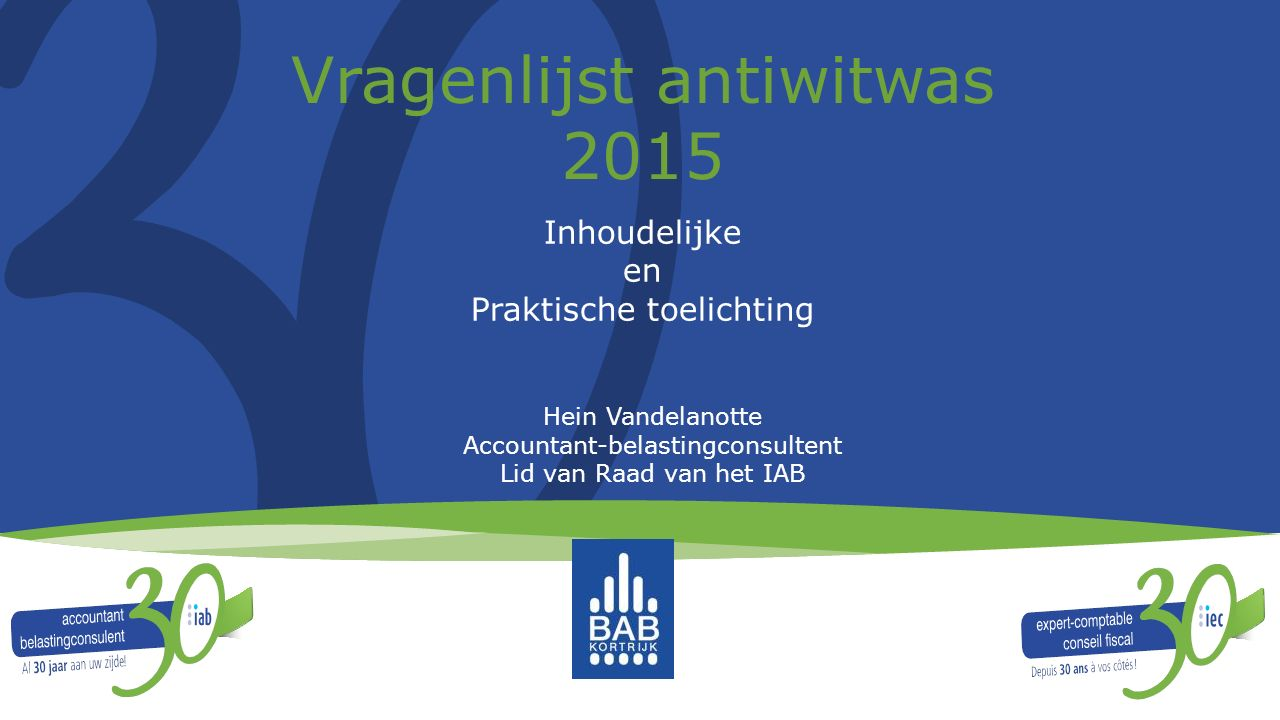 Vragenlijst antiwitwas 2015