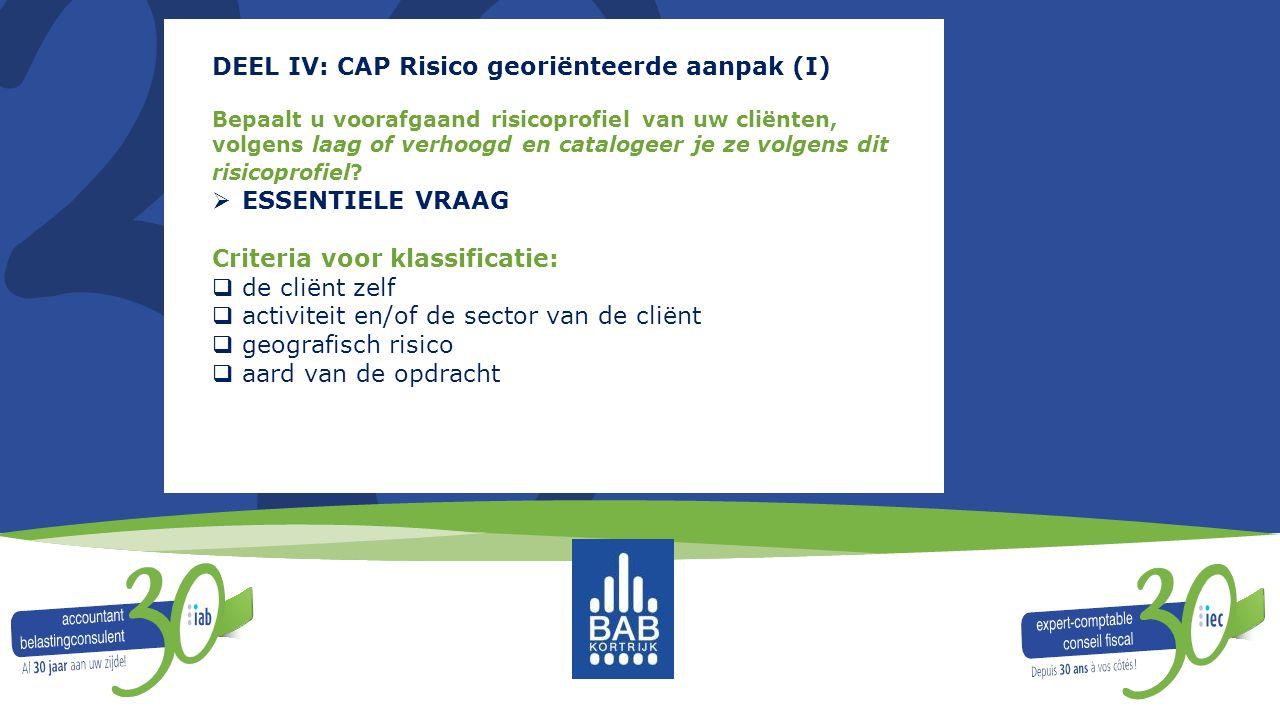 DEEL IV: CAP Risico georiënteerde aanpak (I)