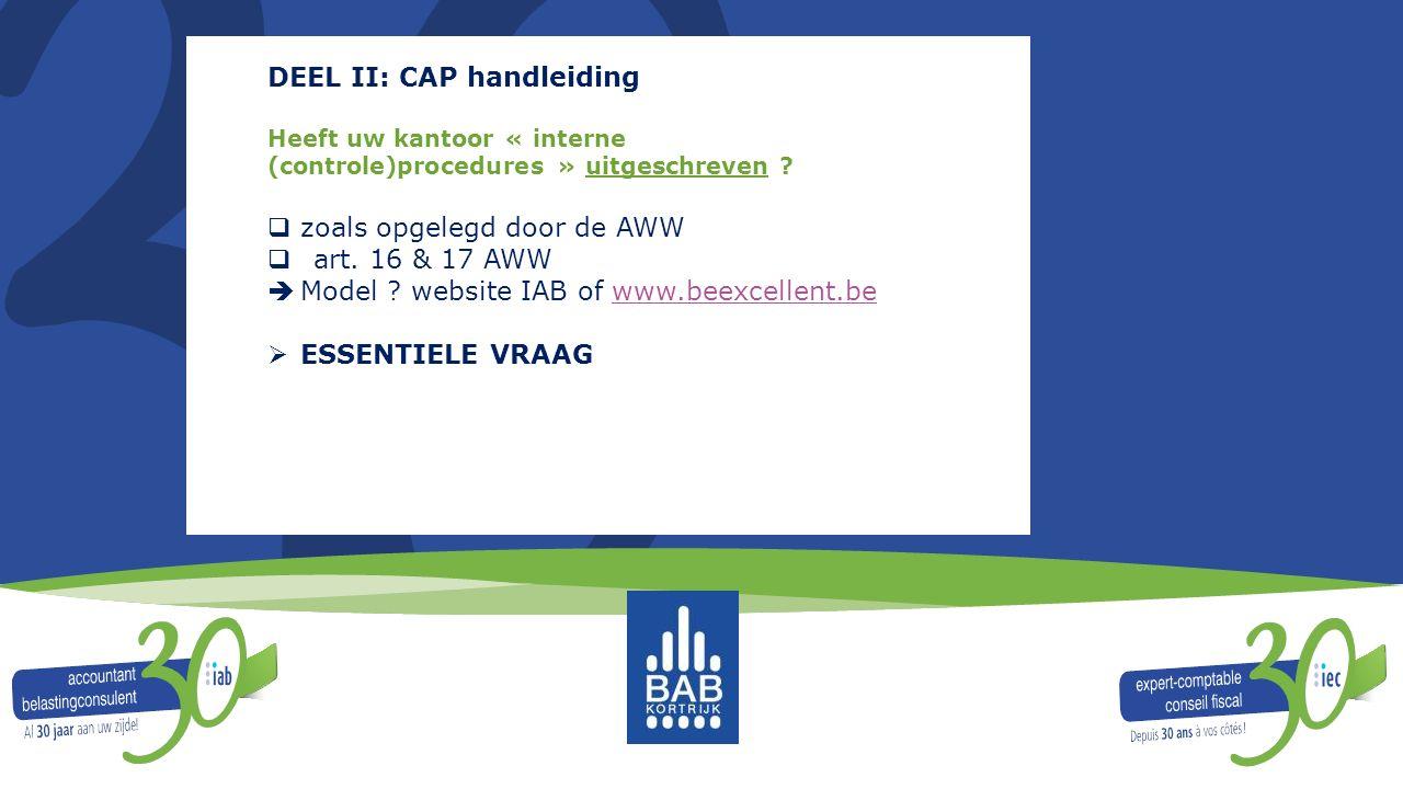 DEEL II: CAP handleiding