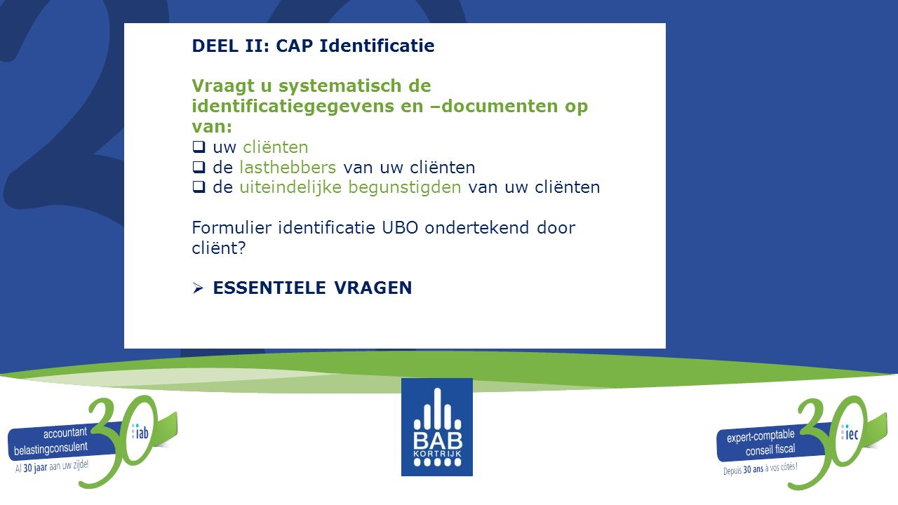 DEEL II: CAP Identificatie