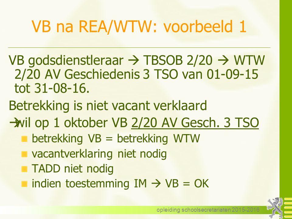 VB na REA/WTW: voorbeeld 1
