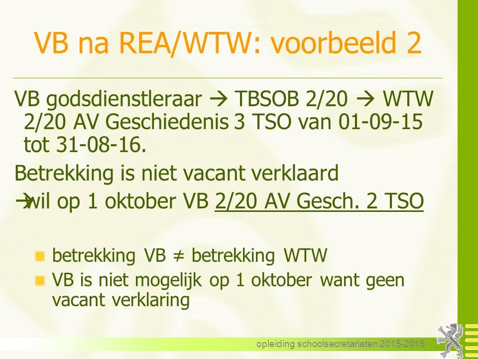 VB na REA/WTW: voorbeeld 2