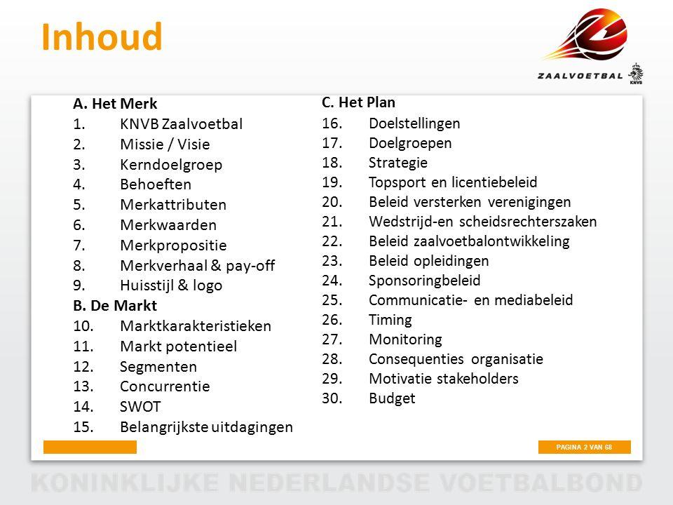 Inhoud A. Het Merk KNVB Zaalvoetbal Missie / Visie Kerndoelgroep