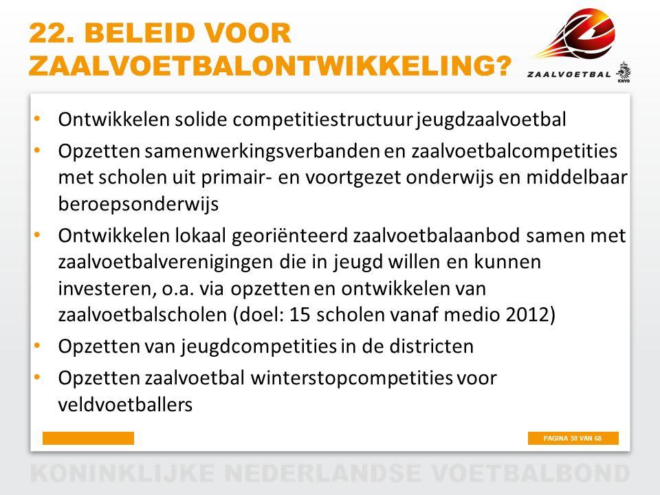 22. beleid voor zaalvoetbalontwikkeling