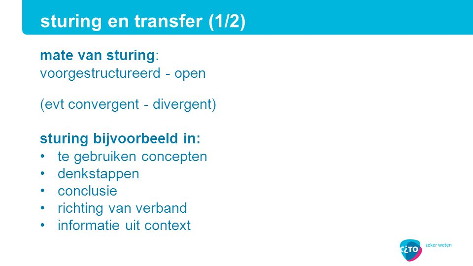 sturing en transfer (1/2)