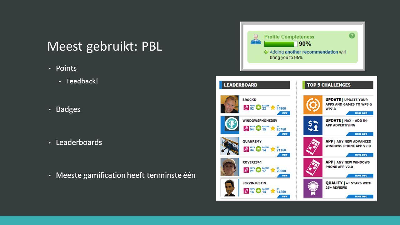 Meest gebruikt: PBL Points Badges Leaderboards