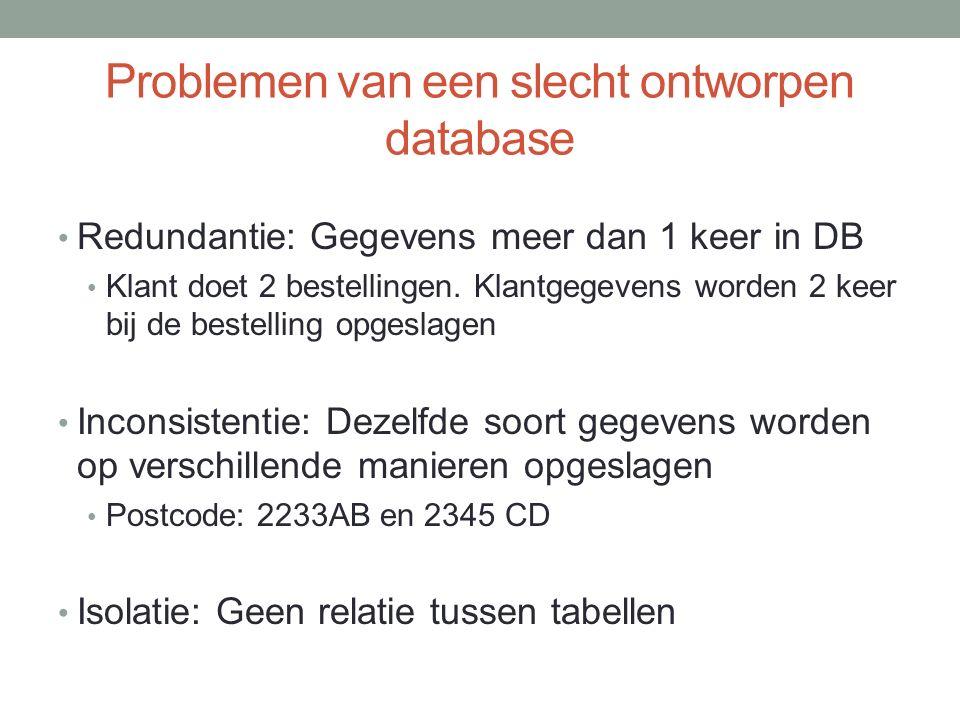 Problemen van een slecht ontworpen database