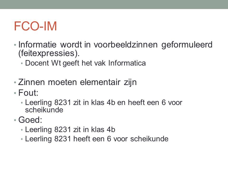 FCO-IM Informatie wordt in voorbeeldzinnen geformuleerd (feitexpressies). Docent Wt geeft het vak Informatica.