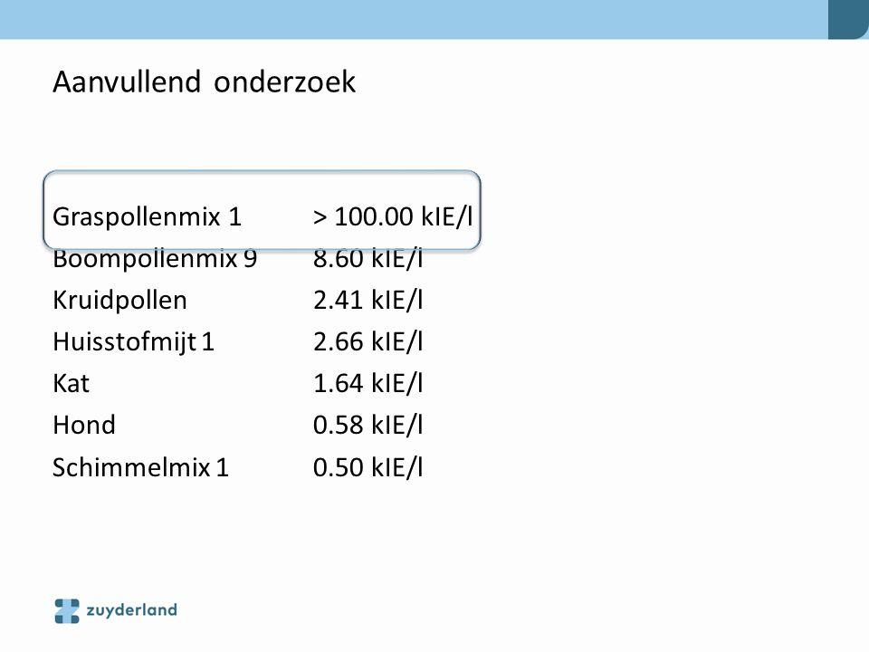 Aanvullend onderzoek Graspollenmix 1 > 100.00 kIE/l