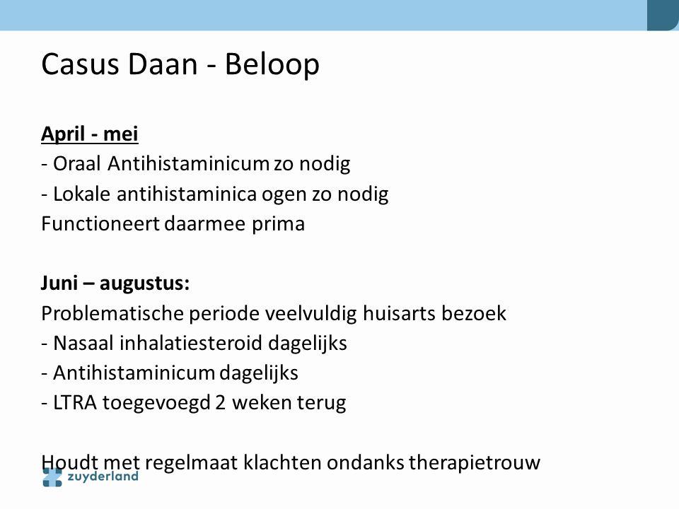 Casus Daan - Beloop April - mei - Oraal Antihistaminicum zo nodig