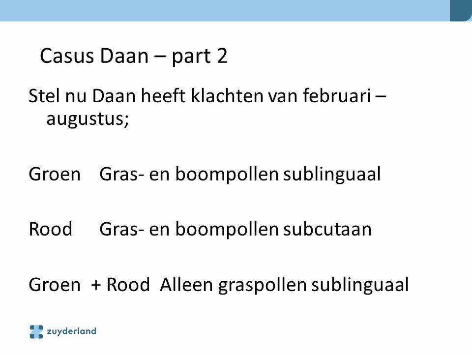 Casus Daan – part 2 Stel nu Daan heeft klachten van februari –augustus; Groen Gras- en boompollen sublinguaal.
