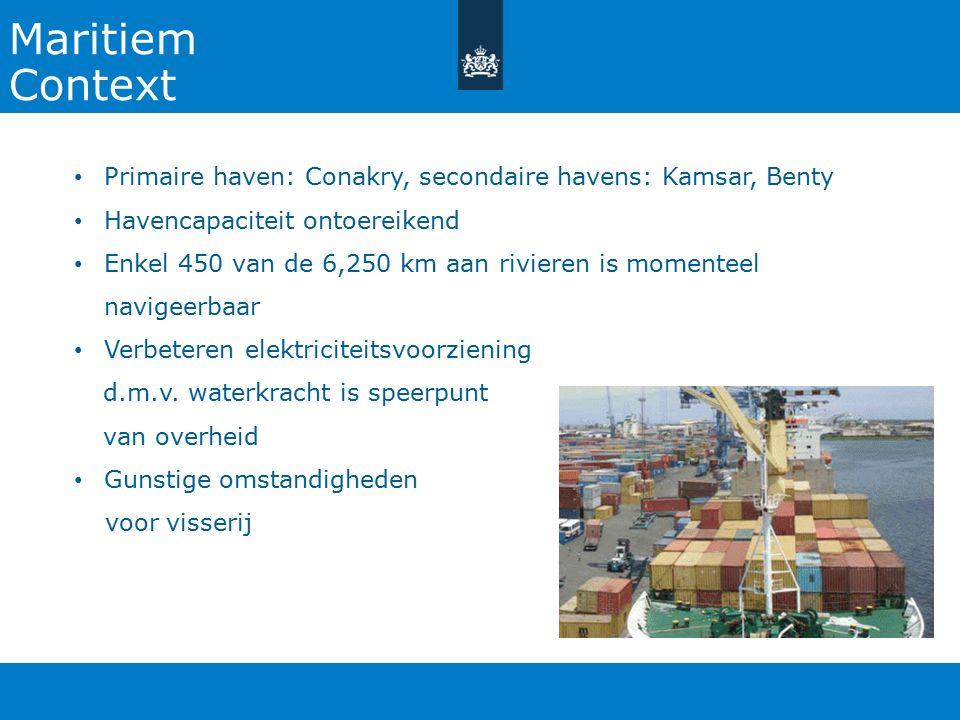 27-10-2015 Maritiem. Context. Primaire haven: Conakry, secondaire havens: Kamsar, Benty. Havencapaciteit ontoereikend.