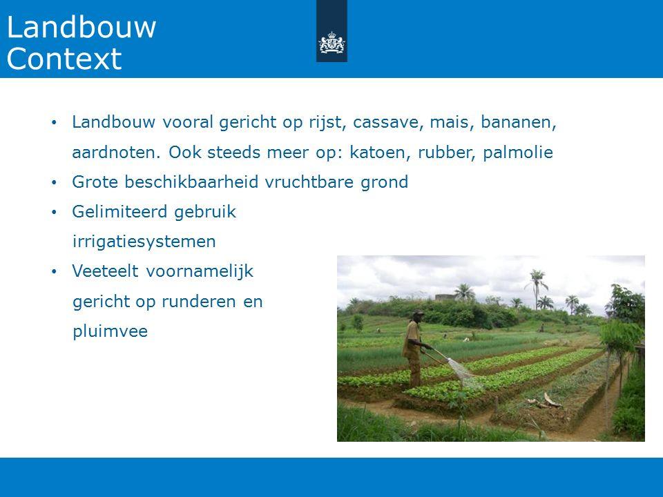 27-10-2015 Landbouw. Context. Landbouw vooral gericht op rijst, cassave, mais, bananen, aardnoten. Ook steeds meer op: katoen, rubber, palmolie.