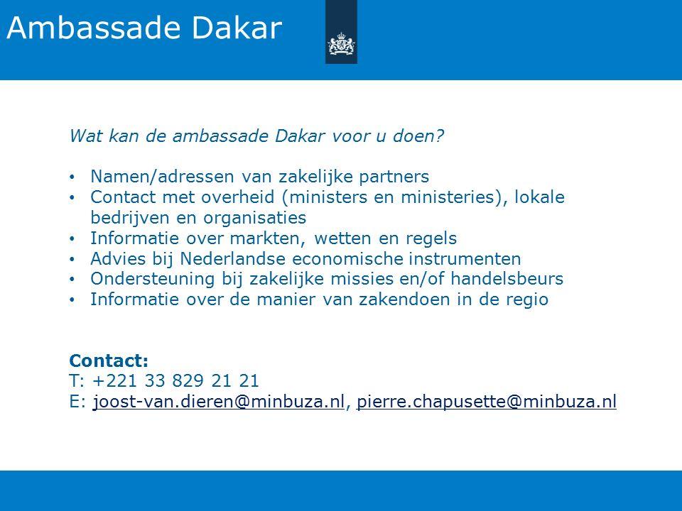 Ambassade Dakar Wat kan de ambassade Dakar voor u doen