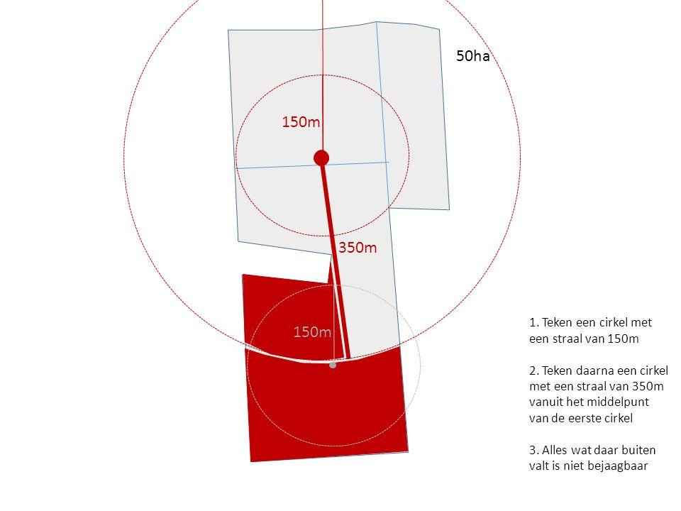 50ha 150m 350m 150m 1. Teken een cirkel met een straal van 150m