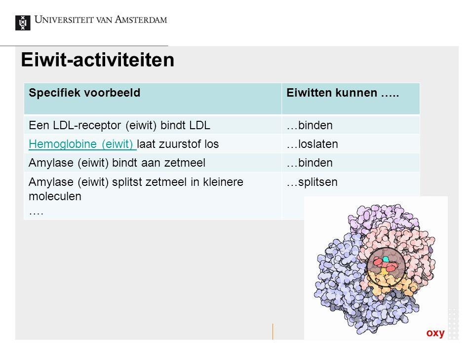 Eiwit-activiteiten Specifiek voorbeeld Eiwitten kunnen …..